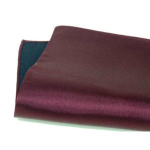 日ポケットチーフ 本製 シルクサテン ボルドー 赤紫 無地 絹100% メール便可|dxksm466