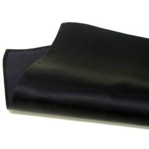 ポケットチーフ 日本製 シルクサテン 黒 無地 絹100% メール便可|dxksm466