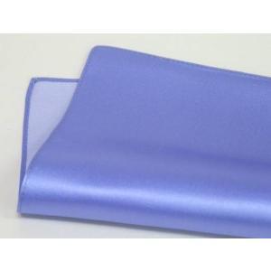 ポケットチーフ 日本製 シルクサテン ブルーラベンダー 無地 絹100% メール便可|dxksm466