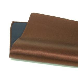 ポケットチーフ 日本製 シルクサテン ブラウン 茶 無地 絹100% メール便可|dxksm466