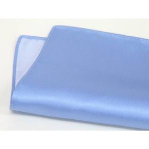 ポケットチーフ 日本製 サックスブルー シルクサテン 無地 絹100% メール便可|dxksm466