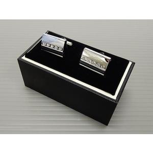 カフスボタン シルバーメタル スワロフスキー&オニキス入り カフリンクス メール便可 AK2856|dxksm466