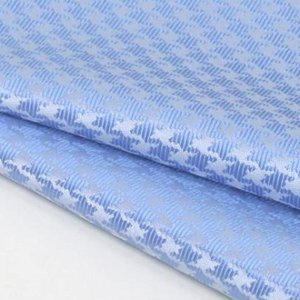 ポケットチーフ 日本製  千鳥格子 シルク100% ジャガード織 水色 メール便可|dxksm466