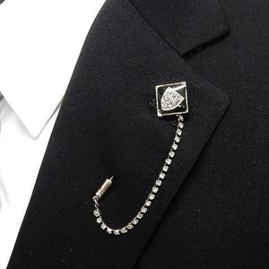ラペルピン ブローチ 鷲の紋章 クリスタルガラス入りチェーン メール便可 acc75-04|dxksm466
