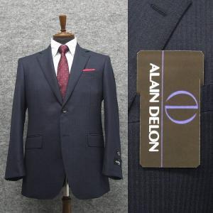 [ALAIN DELON]アランドロン 秋冬物 ビッグサイズ 2パンツ シングル2釦ベーシックスーツ 紺/縞 Super100s [E体] メンズスーツ AD8345E-88|dxksm466