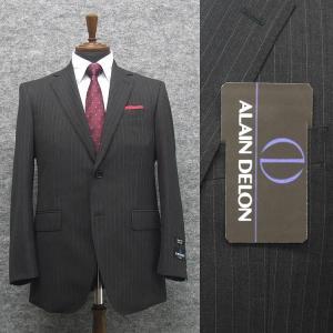 [ALAIN DELON]アランドロン 秋冬物 ビッグサイズ 2パンツ シングル2釦ベーシックスーツ グレー/縞 Super100s [E体] メンズスーツ AD8347E-18|dxksm466