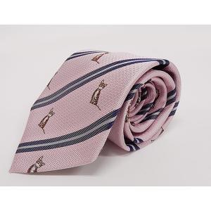 アニマル柄ネクタイ 座り猫 甲州織/シルク100% ピンク/ストライプ 日本製 ANK03