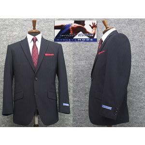 アスリートスーツ 2パンツスーツ 春夏物 セミスタイリッシュスーツ 紺縞 シングル2ボタン [AB体][BB体] メンズスーツ ATH257-88|dxksm466