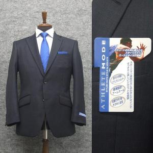 アスリートスーツ 2パンツスーツ 秋冬物 セミスタイリッシュスーツ 紺/ストライプ シングル2ボタン [AB体][BB体] メンズスーツ ATH9151-88|dxksm466