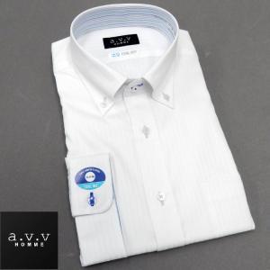 a.v.v 七分袖ドレスシャツ 白地/ドビーストライプ ボタンダウン COOL DRY 形態安定 COOL BIZ avv7-22|dxksm466
