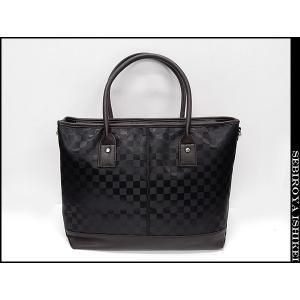 ◆ビジネスバッグ◆2Wayバッグ◆トートバッグ◆ショルダーバッグ◆茶◆市松模様 bg8211-BR|dxksm466