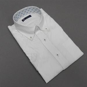 [758Bespoke.J] [FATTURA] 半袖ワイシャツ 白地 バイアス滝縞 綿100% 日本製 ボタンダウン ドレスシャツ クールビズ BSJ603-1|dxksm466