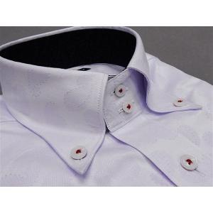 [758Bespoke.J] [FATTURA] 長袖ワイシャツ 薄ラベンダー/ペイズリー柄 綿100% 日本製 ボタンダウン ドレスシャツ BSJ7602-3|dxksm466