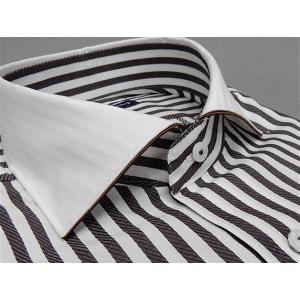 [758Bespoke.J] [FATTURA] 長袖ワイシャツ 白×茶グレー クレリック 綿100% 日本製 カッタウェイ ドレスシャツ BSJ7605-2|dxksm466