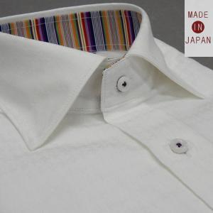 [758Bespoke.J] [FATTURA] 長袖ワイシャツ 白地/千鳥格子 綿100% 日本製 ワイド衿 メンズドレスシャツ BSJ9601-1|dxksm466
