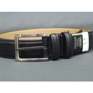 ベルト レザー イタリアン 黒 シボ 110cm メンズ|dxksm466