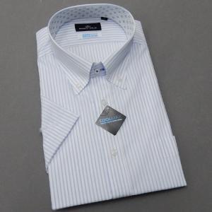 BODY WILD(ボディワイルド) 半袖 ワイシャツ ボタンダウン 白×青 ストライプ 形態安定 ドレスシャツ スリム BW73-13|dxksm466