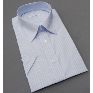 半袖ドレスシャツ color navi クールビズ レギュラーカラー 白地×青 ストライプ 形態安定 接触冷感 吸水速乾 CN06|dxksm466