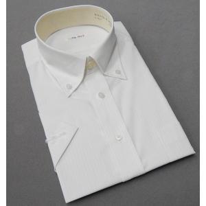 半袖ドレスシャツ color navi クールビズ ボタンダウン 白地×黄 ストライプ 形態安定 接触冷感 吸水速乾 CN10|dxksm466