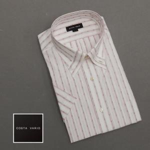 ドレスシャツ COSTA VARIO 半袖 白地×暖色系/ストライプ マイターカラー/ボタンダウン 日本製 綿100% cos104|dxksm466