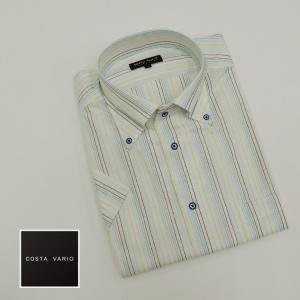ドレスシャツ COSTA VARIO 半袖 白地×ブルー系/ストライプ ボタンダウン 日本製 綿100% cos200-1|dxksm466