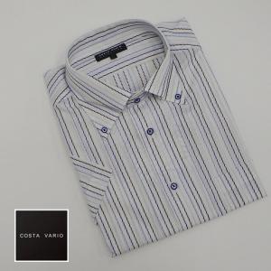 ドレスシャツ COSTA VARIO 半袖 白地×濃淡ブルー/ストライプ ボタンダウン 日本製 綿100% cos204-1|dxksm466