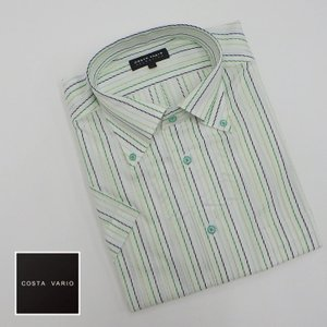 ドレスシャツ COSTA VARIO 半袖 白地×濃淡グリーン/ストライプ ボタンダウン 日本製 綿100% cos204-3|dxksm466