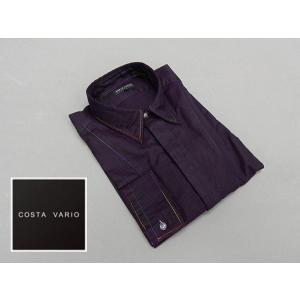 ドレスアップシャツ COSTA VARIO 長袖 紫系 市松模様 日本製 綿100% cos891-72|dxksm466