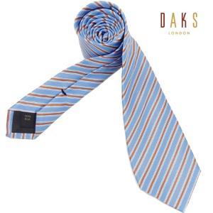 DAKS イタリア製ネクタイ スカイブルー系 ストライプ シルク100% ダックス DAKS03|dxksm466