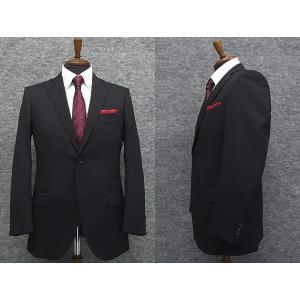 スーツ 秋冬物 Super100'sウール スタイリッシュ2ボタン 黒紺 無地  毛100% 総裏地 ]就活スーツ メンズスーツ|dxksm466