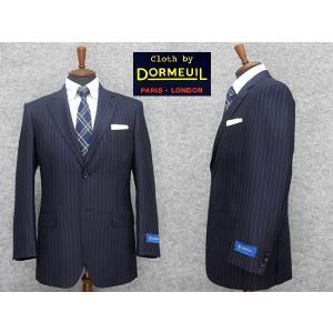 [DORMEUIL]ドーメル 秋冬物 シングル2釦ベーシックスーツ 紺縞  [A体] メンズスーツ