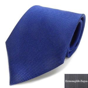 Ermenegildo Zegna イタリア製ネクタイ ロイヤルブルー マイクロチェック シルク10...