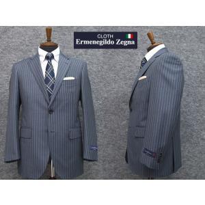 ゼニア 2パンツ スーツ 春夏物 グレー縞 TOROPICAL ベーシック2ボタン EZT08 ロゴ入り裏地|dxksm466