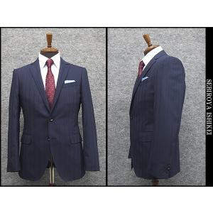 春夏物 スタイリッシュ2釦スーツ 紺系 ストライプ [YA体] 背抜き裏地 メンズスーツ F161237|dxksm466