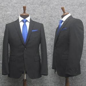 春夏物 スタイリッシュ2釦スーツ 黒紺系 ストライプ [YA体][A体][AB体] 背抜き裏地 メンズスーツ F161243|dxksm466