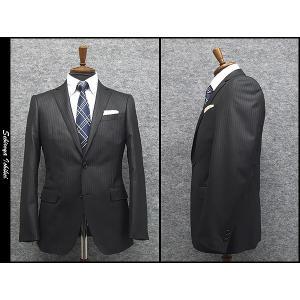 スタイリッシュ2釦スーツ グレー系 ピンストライプ [Y体] 秋冬物 総裏地 メンズスーツ|dxksm466