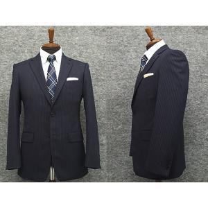 スタイリッシュ2釦スーツ 紺系 ストライプ 秋冬物 総裏地 メンズスーツ|dxksm466