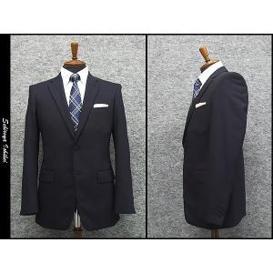 2パンツ スタイリッシュ2釦スーツ 紺系 ストライプ 秋冬物 総裏地 メンズスーツ|dxksm466