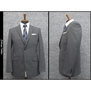 2パンツ スタイリッシュ2釦スーツ グレー系 ストライプ 秋冬物 総裏地 メンズスーツ|dxksm466