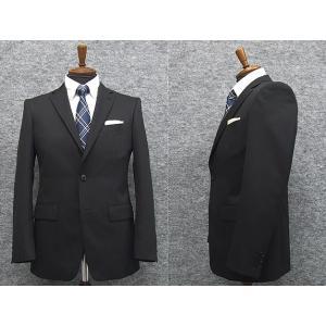 2パンツ スタイリッシュ2釦スーツ 黒系 ストライプ 秋冬物 総裏地 メンズスーツ|dxksm466