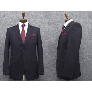2パンツ スタイリッシュ2釦スーツ 紺系 ストライプ [A体][AB体] 秋冬物 総裏地 メンズスーツ GRA6162-88|dxksm466