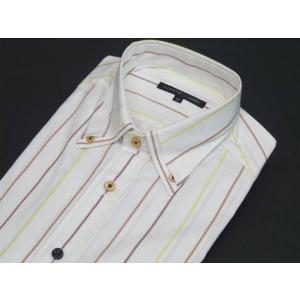 ■FIDATO■長袖ドレスシャツ■白地/暖系縞■マイターボタンダウン■ストレッチ■トルファン綿100%■ビジカジ gs600-151|dxksm466