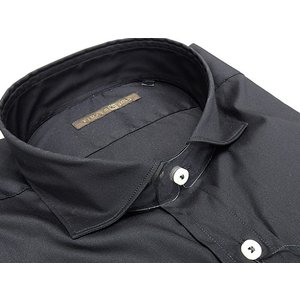 【FIDATO gold】イタリー製 長袖ドレスシャツ ストレッチ素材 黒/無地 カッタウェイ 綿95%|dxksm466