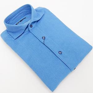g-stage(ジーステージ) 日本製 コットン起毛 ブルー 無地 カッタウェイ 長袖カラーシャツ  綿100%|dxksm466