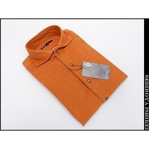 g-stage(ジーステージ) 日本製 コットン起毛 オレンジ 無地 カッタウェイ 長袖カラーシャツ  綿100%|dxksm466
