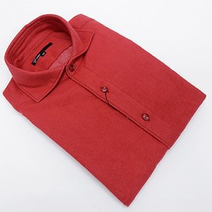 g-stage(ジーステージ) 日本製 コットン起毛 赤 無地 カッタウェイ 長袖カラーシャツ  綿100%|dxksm466