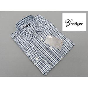 g-stage 七分袖 コットン100% 紺×白系チェック カジュアルシャツ gs687-201|dxksm466