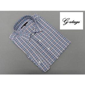g-stage 七分袖 コットン100% 紺×赤系チェック カジュアルシャツ gs687-202|dxksm466