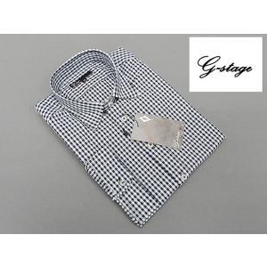 g-stage 七分袖 コットン100% 黒×白系チェック カジュアルシャツ gs687-203|dxksm466