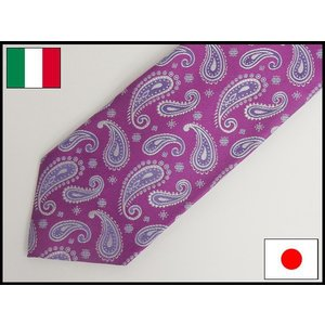 ネクタイ イタリー生地 Classico Seta社 日本縫製 ネクタイ ピンク系 ペイズリー柄 シルク100% |dxksm466